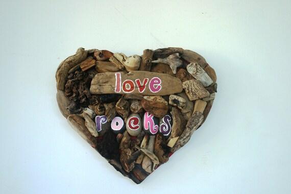 Love Rocks Driftwood & Beach Stone Art--Anniversary, Valentine's Day Gift