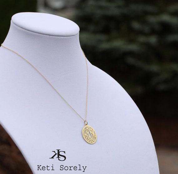 Designer Monogram Initials Pendant -Small to Large Sizes (Order Any Initials) - Sterling Silver With Yellow Gold Overlay