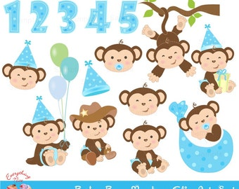 Baby Boy Monkey Clip Art Set