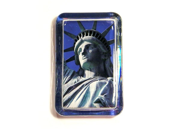 3D Statue of Liberty New York City Glass Paperweight - Dimensional Photo Sculpture - Fourth of July 4th