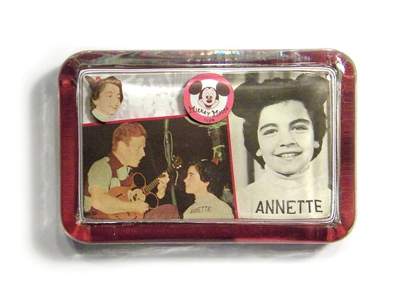 3D Mouseketeer Annette Funicello - Collage Glass Paperweight - Disney Mickey Mouse Club