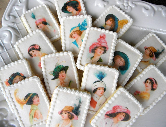 Downton Abbey -esque Wafer Papers for Cookies - 1920s Hats Edible Images