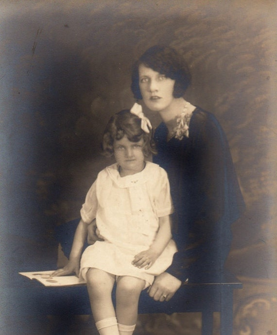 Antique Photographs of Mother and Daughter Ca. 1920s / Sepia Photographs