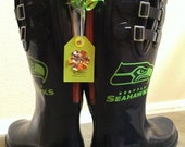 Custom Made-to-Order Rain boots Replica NFL Rainboots Seattle Seahawks 12th Man Rainboots for Tailgating and cheering in style