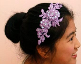 Wedding/Bridesmaid headband/head piece - Lavender wreath