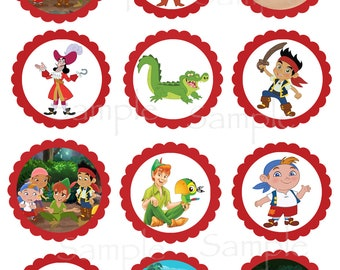 Jake and the Neverland Pirate or Peter Pan Returns set of Printable Cupcake Toppers /Favor Tags