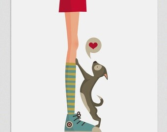 Illustration. Dog's Life (Girl).  Print. Wall art. Art decor. Hanging wall. Printed art. Decor home. Gift idea. Sweet home. Tutticonfetti.