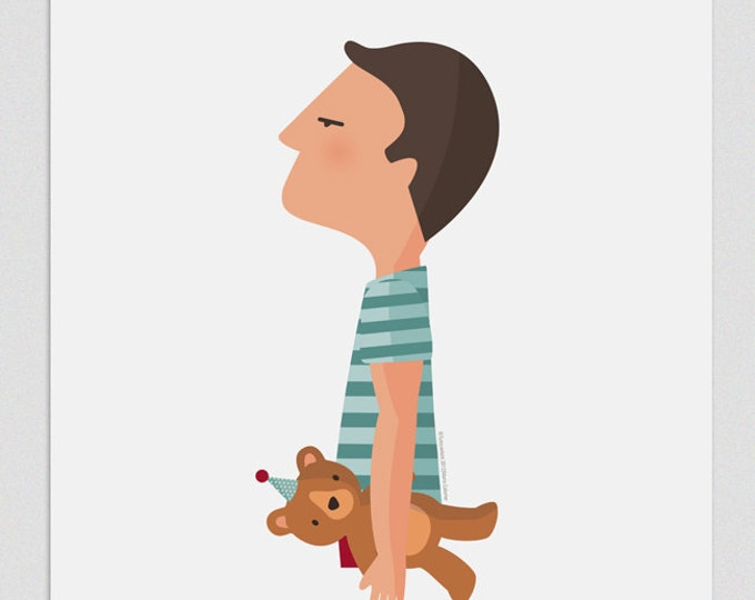 """Ilustración """"Chico con oso""""."""