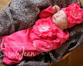 Fuchsia Flower Gown Take Home Outfit with Iridescent Rhinestone Center