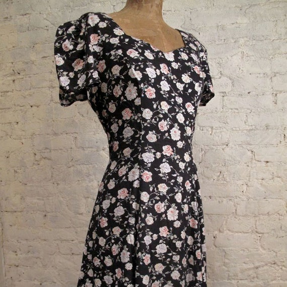 Grunge Dress - 80s/90s Blue and Pink Floral with Criss-Cross Straps