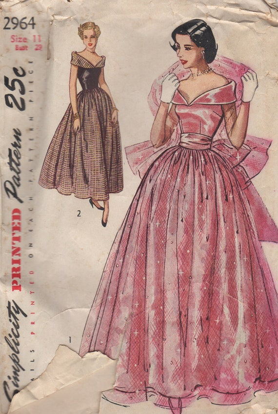 Price reduced simplicity 2964 glamorous 1940s dress pattern for 1940s wedding dress patterns