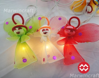 20 Fantasy Angel Cute Art Multi Colour Fairy Lights String Cute Baby Party Patio Wedding Floor Table Hanging Gift Home Decor Living Bedroom
