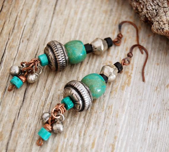 gypsy earrings - turquoise earrings - boho earrings