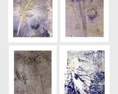 Blank cards set of four 5x7 purples,lilacs, misty mauve.