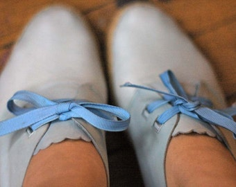 Blue Leather Espadrille Wedges
