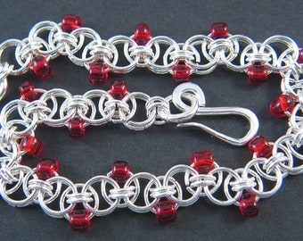 Sterling Silver Helm Chain Bracelet with Red Beads