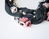 Boho Wrap Scarf, Silk Wrap Scarf, Crocheted Necklace, Oya Beaded Necklace, Pink  Flowers Gray Necklace, Crochet Foulard, Beadwork, ReddApple