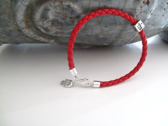 Kabbalah bracelet red string leather silver hamsa evil eye bracelet