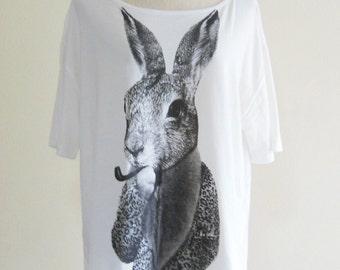 SALE Rabbit Bunny Smart Cigar Rabbit T Shirt Bunny Shirt Animal Style Front Short Than Back  Crop Top Tee Shirt Screen Print Size L
