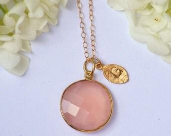 Personalized Large Natural Pink Quartz Vermeil Gold bezel set necklace - Large Gemstone, Initial Hand stamped - October Birthstone