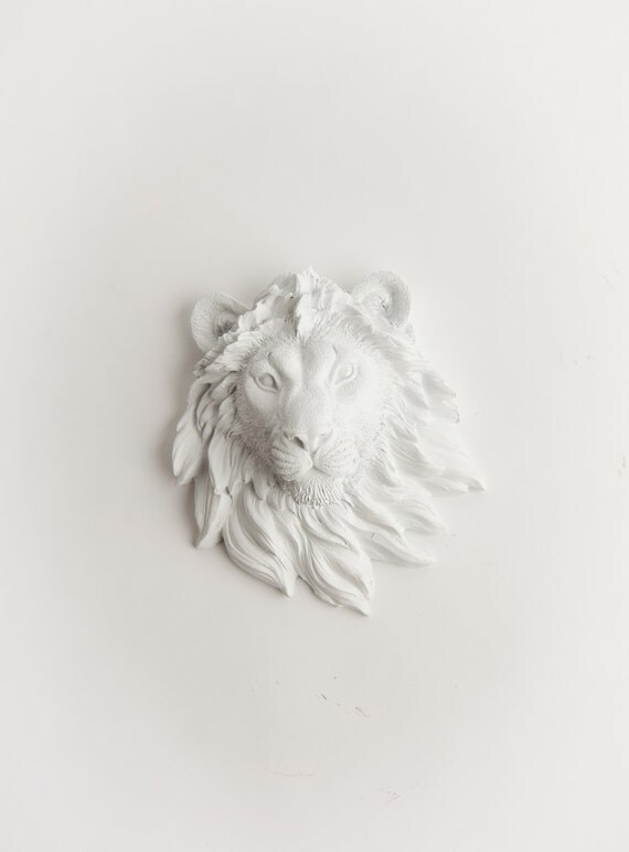 The Ramiro - Mini White Faux Resin Lion Head Wall Mount - Resin by White Faux Taxidermy