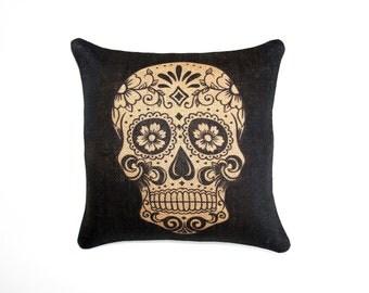 Sugar Skull Burlap Pillow, Day of the Dead, Dia de los Muertos, Black, Biege
