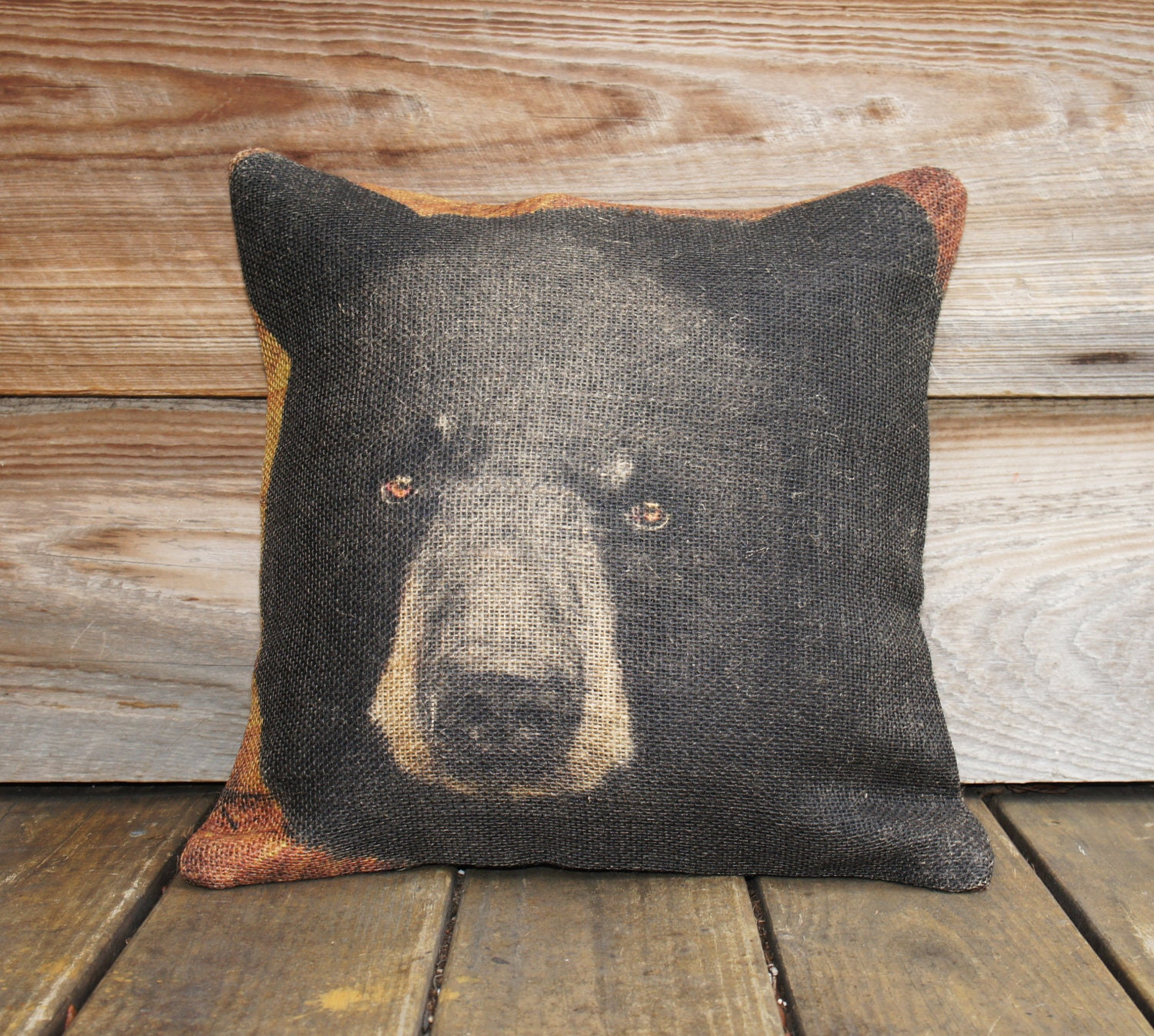 Burlap Pillow of Black Bear, Throw Pillow, Cushion, Rustic ...
