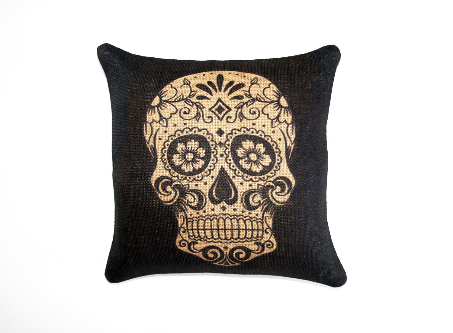 Sugar Skull Burlap Pillow Day Of The Dead Dia De Los