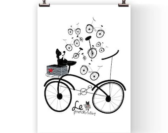 FRENCH BULLDOG and bike - france - dog print - Frenchie - Bouledogue Francais - french bulldog art print