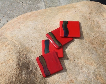 Fused Glass Coasters-Red (Set of 4)