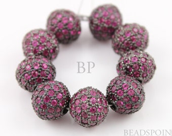 Pave Ruby Beads, Pave Ruby balls, Pave Beads, Ruby round beads, Round Beads ,Oxidized Silver, Pave Findings, Size 12 mm. (RB-BA12)