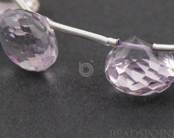 Brazilian ''NO TREATMENT'' Pink Amethyst Micro Faceted Onion Drops, Lovely Rose Lilac AAA Quality Gemstone 7x8mm, 1 Strand (PAM7x8Onion)