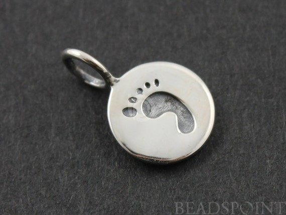 Sterling Silver, Baby Feet Stamp Charm /  Pendant with Open Jump Ring, 1 Piece  (SS/CH10/CR16)