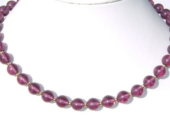 1960s Antique PURPLE  Glass Bead Necklace - Choker