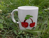 Plants vs. Zombies Hand-Drawn Ceramic Mug, Cherry Bomb: 6th in a Series of 7