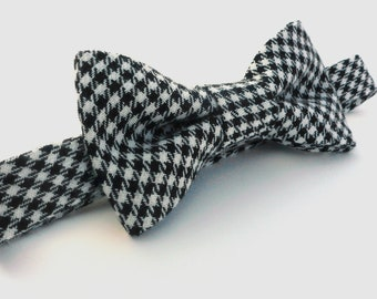 Boys Bowtie- Black and White Houndstooth - Sizes newborn-adult