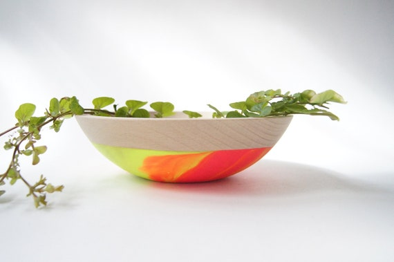 "Wooden Salad Bowl, 7"" Neon Pink and Neon Yellow Swirl, Modern Decor"