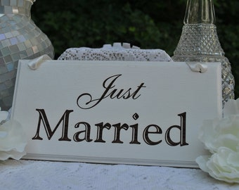 Just Married Wedding Sign, Handmade & Laser Engraved.
