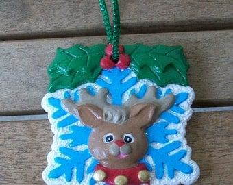 Handpainted Snowflake with Reindeer Ornament