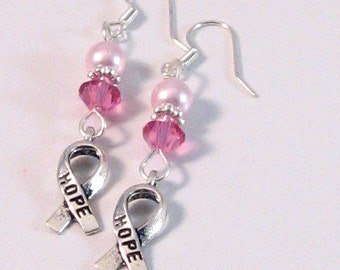 """Pink Pearl & Swarovski Crystal Hope Ribbon """"Breast Cancer Awareness"""" Earrings, BCA Style 5, Pink Jewelry, Pink Earrings, Womens Fashion"""
