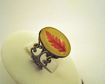 unusual rings, woodland jewelry, real nature jewelry, leaf ring, unique rings, rings for girls, natural jewellery, red leaf, cute rings