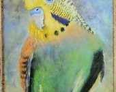 bird painting, green and yellow parakeet or parrot, acrylic on canvas art for sale.