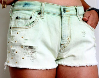 SALE - Dip dyed green studded Levis shorts