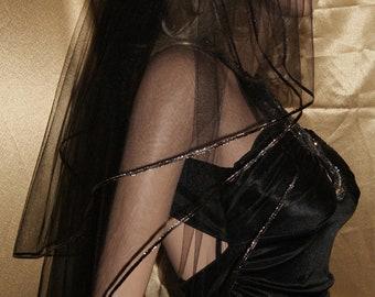 "Gothic Black Fingertip wedding veil costume  mourning  Halloween three tiers 54"" width 28"" 32"" 36"" length Black satin Gold ribbon"