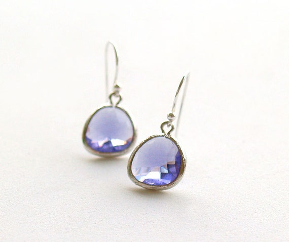 Tanzanite and Silver Drop Earrings - Dainty Purple Drops on 925 Sterling Wire,Brides,Bridesmaid Earrings, Wedding