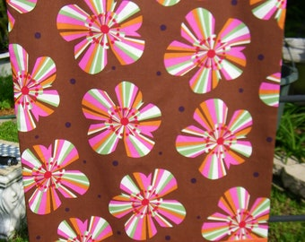 Handmade Pillow Case   Unique  One of a kind.   Brown Retro Flowers & Stripes