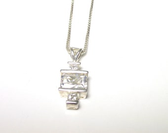 Sterling Silver Square and Round Cubic Zirconia Pendant Necklace - Zircon - Mock Diamond Necklace # 770