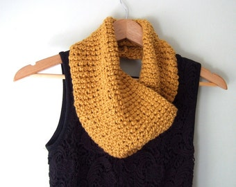 Mustard Infinity Scarf .. Crochet Scarf .. Organic Cotton Scarf .. Mustard Yellow Scarf .. Vegan Clothes .. Eco Friendly Gift