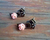 Stud Earrings - Zipper and Pink/Peach Rose Cabochon