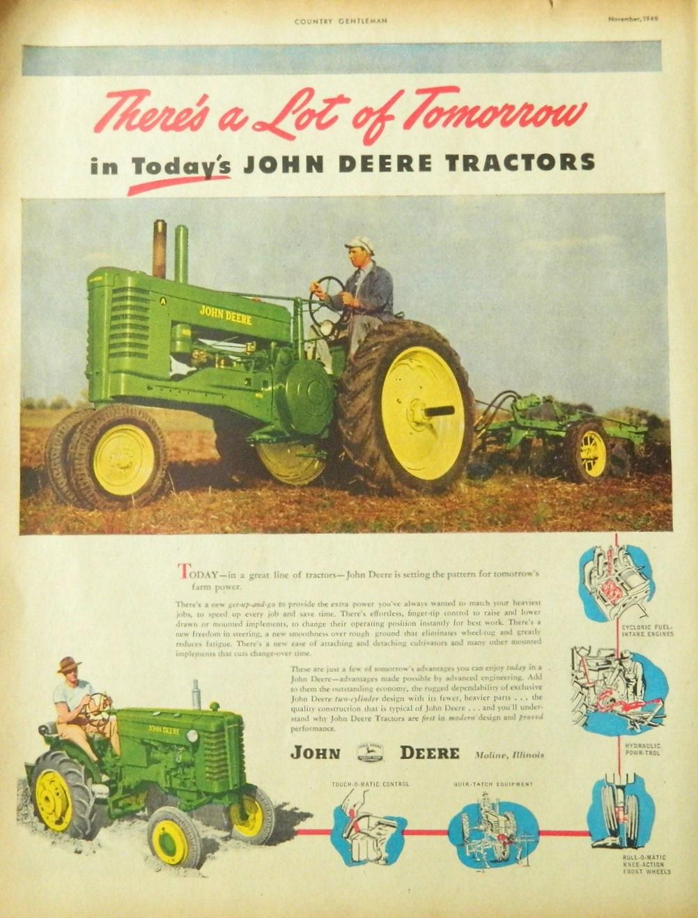 John Deere Tractor Ad : Vintage john deere tractor ad wall art or collectible